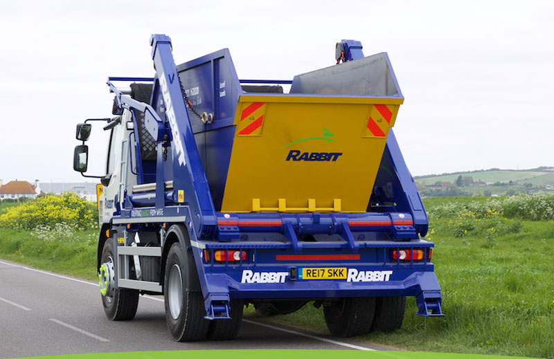 Rabbit Skips lorry with skip in Lancing